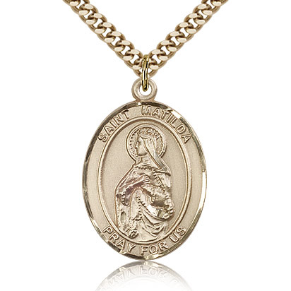 Gold Filled 1in St Matilda Medal & 24in Chain
