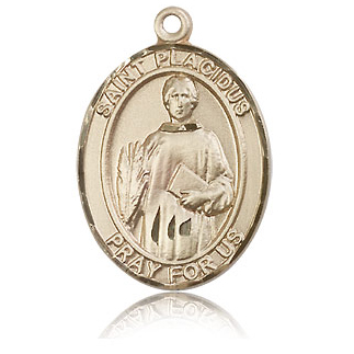 14kt Yellow Gold 1in St Placidus Medal