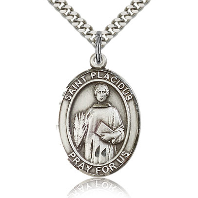 Sterling Silver 1in St Placidus Medal & 24in Chain