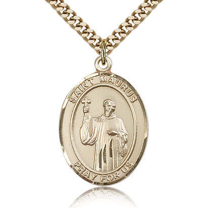 Gold Filled 1in St Maurus Medal & 24in Chain