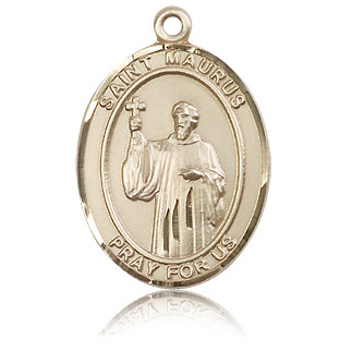 14kt Yellow Gold 1in St Maurus Medal