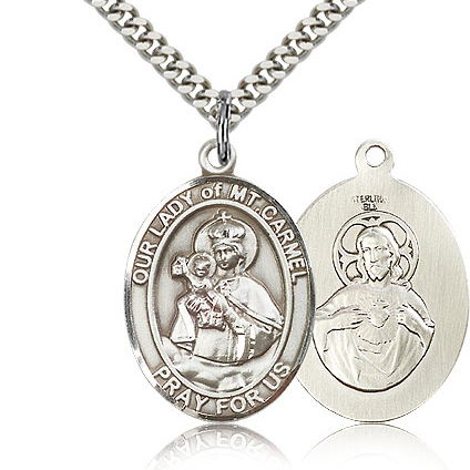 Sterling Silver 1in Our Lady of Mount Carmel Medal & 24in Chain