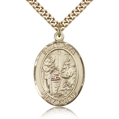 Gold Filled 1in St Zita Medal & 24in Chain
