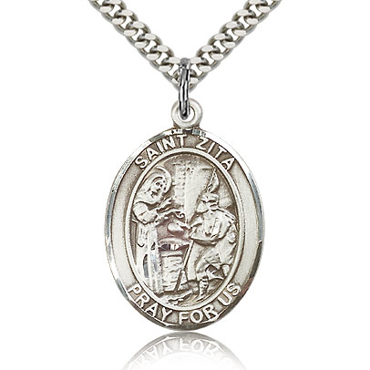 Sterling Silver 1in St Zita Medal & 24in Chain