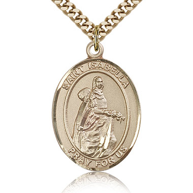 Gold Filled 1in St Isabella Medal & 24in Chain