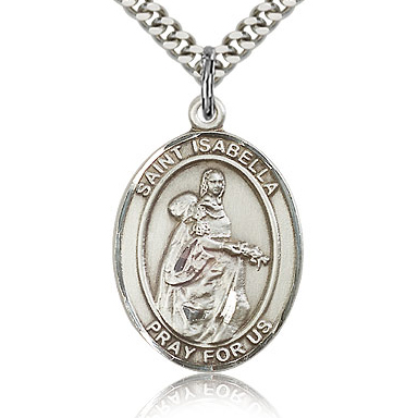 Sterling Silver 1in St Isabella Medal & 24in Chain