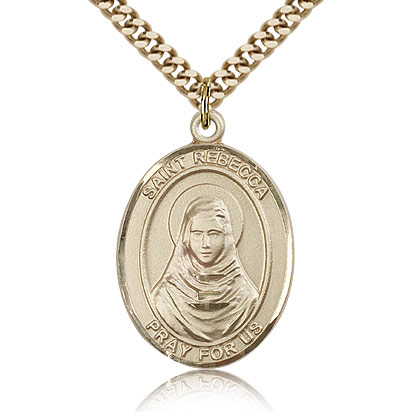 Gold Filled 1in St Rebecca Medal & 24in Chain