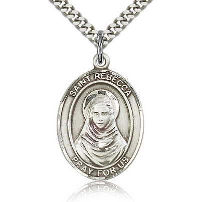 Sterling Silver 1in St Rebecca Medal & 24in Chain