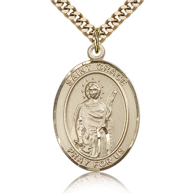 Gold Filled 1in St Grace Medal & 24in Chain