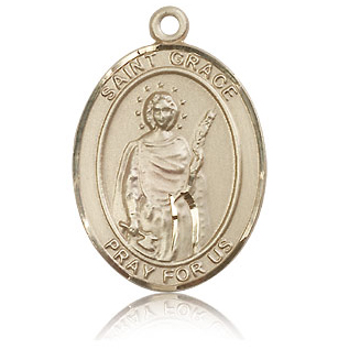 14kt Yellow Gold 1in St Grace Medal