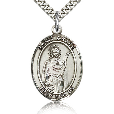 Sterling Silver 1in St Grace Medal & 24in Chain