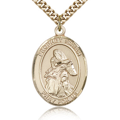 Gold Filled 1in St Isaiah Medal & 24in Chain
