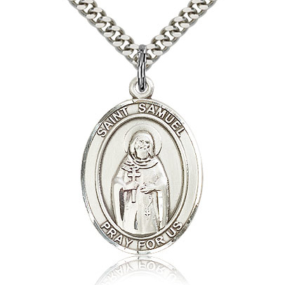 Sterling Silver 1in St Samuel Medal & 24in Chain