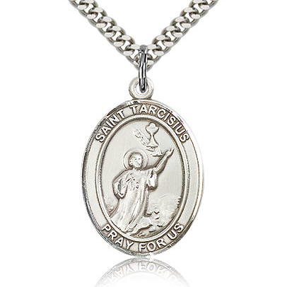 Sterling Silver 1in St Tarcisius Medal & 24in Chain
