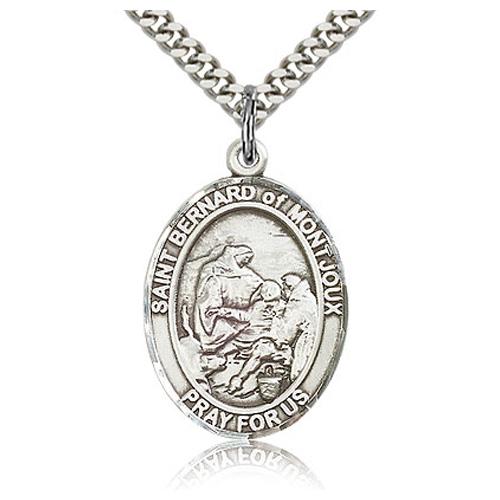 Sterling Silver 1in St Bernard Medal & 24in Chain