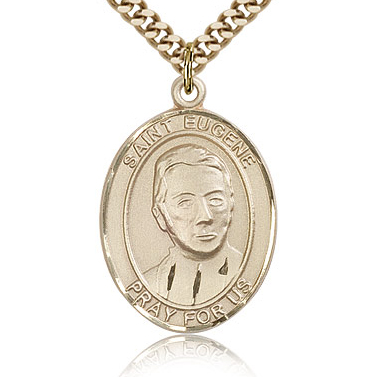 Gold Filled 1in St Eugene Medal & 24in Chain