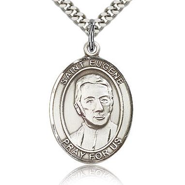 Sterling Silver 1in St Eugene Medal & 24in Chain