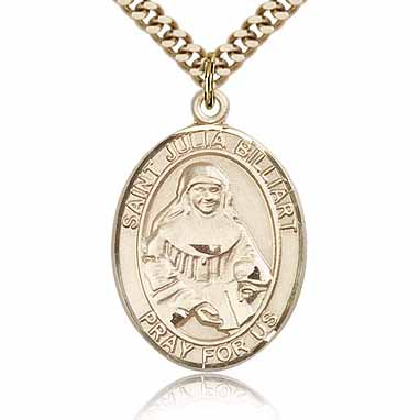 Gold Filled 1in St Julia Billiart Medal & 24in Chain