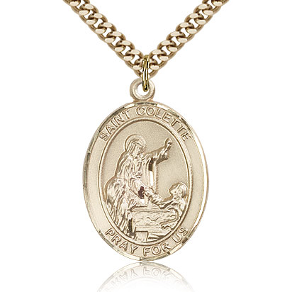 Gold Filled 1in St Colette Medal & 24in Chain
