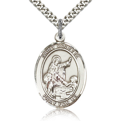 Sterling Silver 1in St Colette Medal & 24in Chain