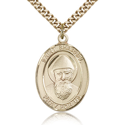 Gold Filled 1in St Sharbel Medal & 24in Chain