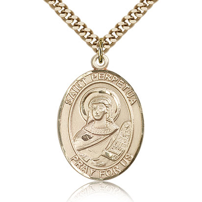 Gold Filled 1in St Perpetua Medal & 24in Chain