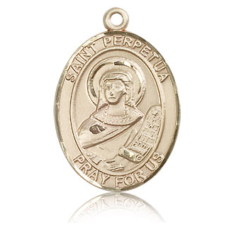 14kt Yellow Gold 1in St Perpetua Medal