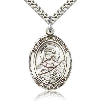 Sterling Silver 1in St Perpetua Medal & 24in Chain