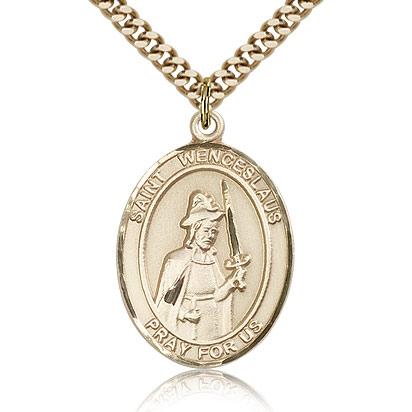 Gold Filled 1in St Wenceslaus Medal & 24in Chain
