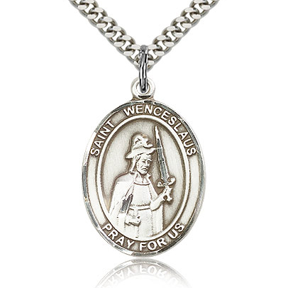 Sterling Silver 1in St Wenceslaus Medal & 24in Chain