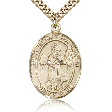 Gold Filled 1in St Isidore the Farmer Medal & 24in Chain