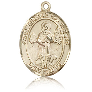 14kt Yellow Gold 1in St Isidore the Farmer Medal