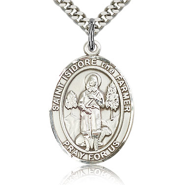 Sterling Silver 1in St Isidore the Farmer Medal & 24in Chain