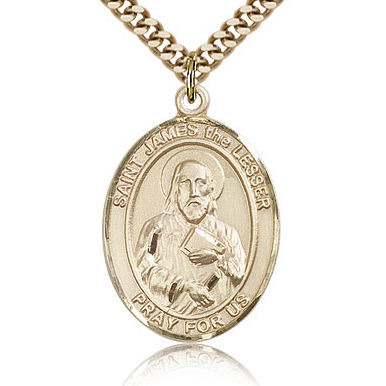 Gold Filled 1in St James the Lesser Medal & 24in Chain