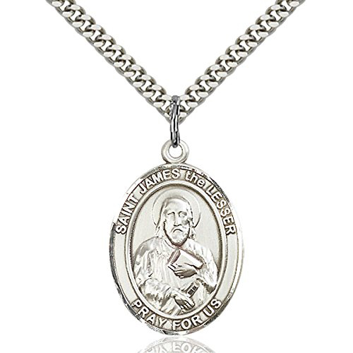 Sterling Silver 1in St James the Lesser Medal & 24in Chain