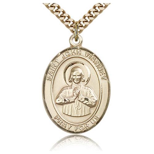 Gold Filled 1in St John Vianney Medal & 24in Chain