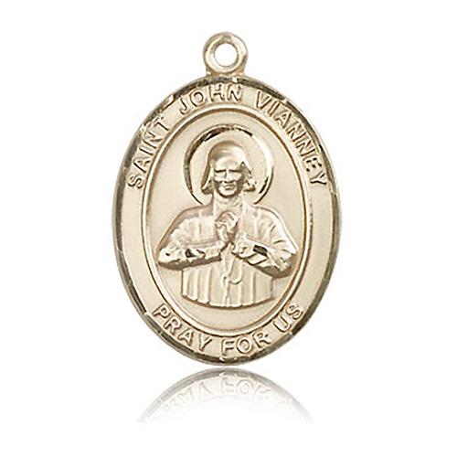 14kt Yellow Gold 1in St John Vianney Medal