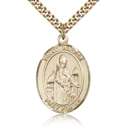 Gold Filled 1in St Walter Medal & 24in Chain