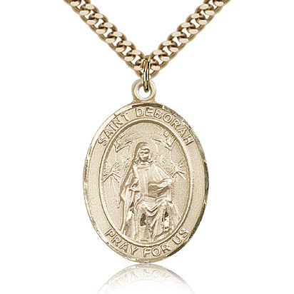 Gold Filled 1in St Deborah Medal & 24in Chain