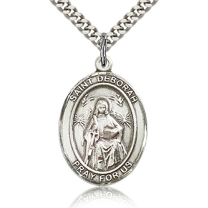 Sterling Silver 1in St Deborah Medal & 24in Chain