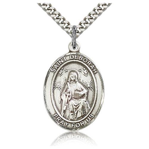 Sterling Silver 1in St Deborah Medal & 24in Chain