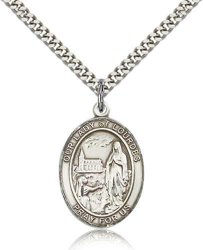 Sterling Silver 1in Our Lady of Lourdes Medal & 24in Chain