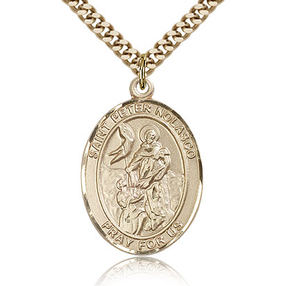 Gold Filled 1in St Peter Nolasco Medal & 24in Chain