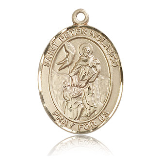14kt Yellow Gold 1in St Peter Nolasco Medal