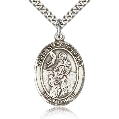 Sterling Silver 1in St Peter Nolasco Medal & 24in Chain