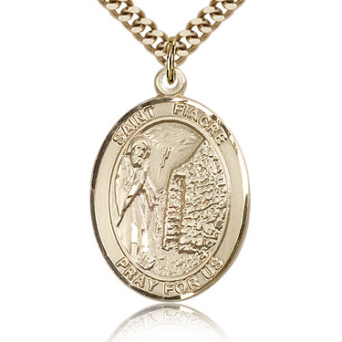 Gold Filled 1in St Fiacre Medal & 24in Chain