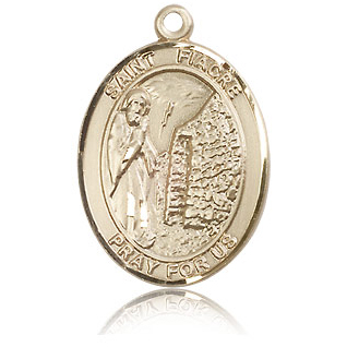 14kt Yellow Gold 1in St Fiacre Medal