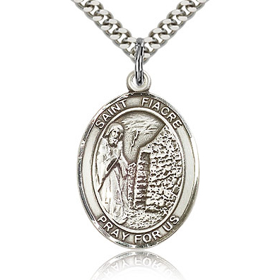 Sterling Silver 1in St Fiacre Medal & 24in Chain
