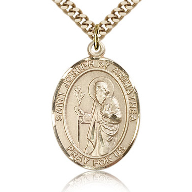 Gold Filled 1in St Joseph of Arimathea Medal & 24in Chain