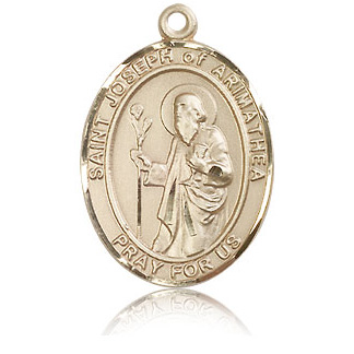 14kt Yellow Gold 1in St Joseph of Arimathea Medal